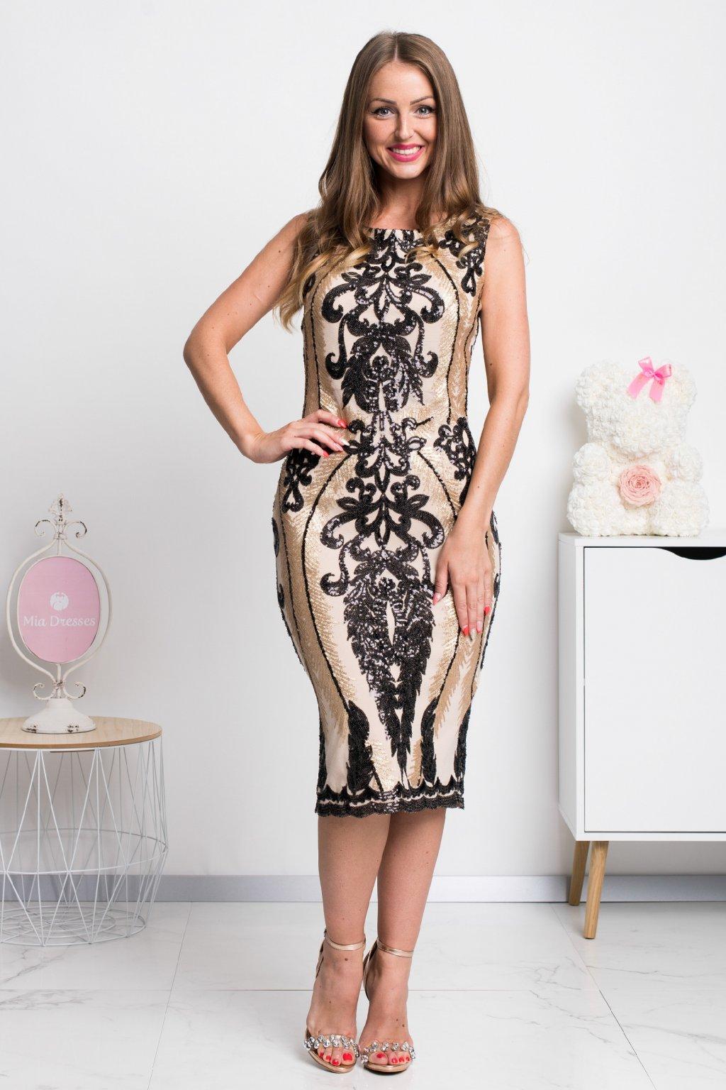 Čierno-zlaté flitrované midi šaty
