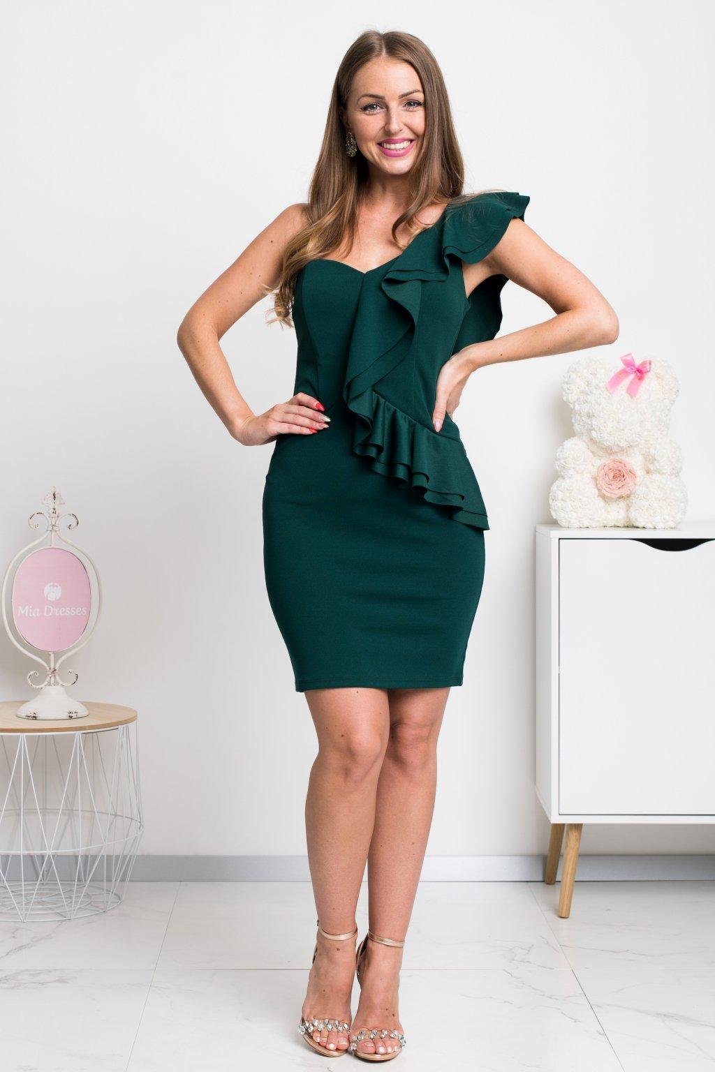 Zelené mini šaty s volánikmi