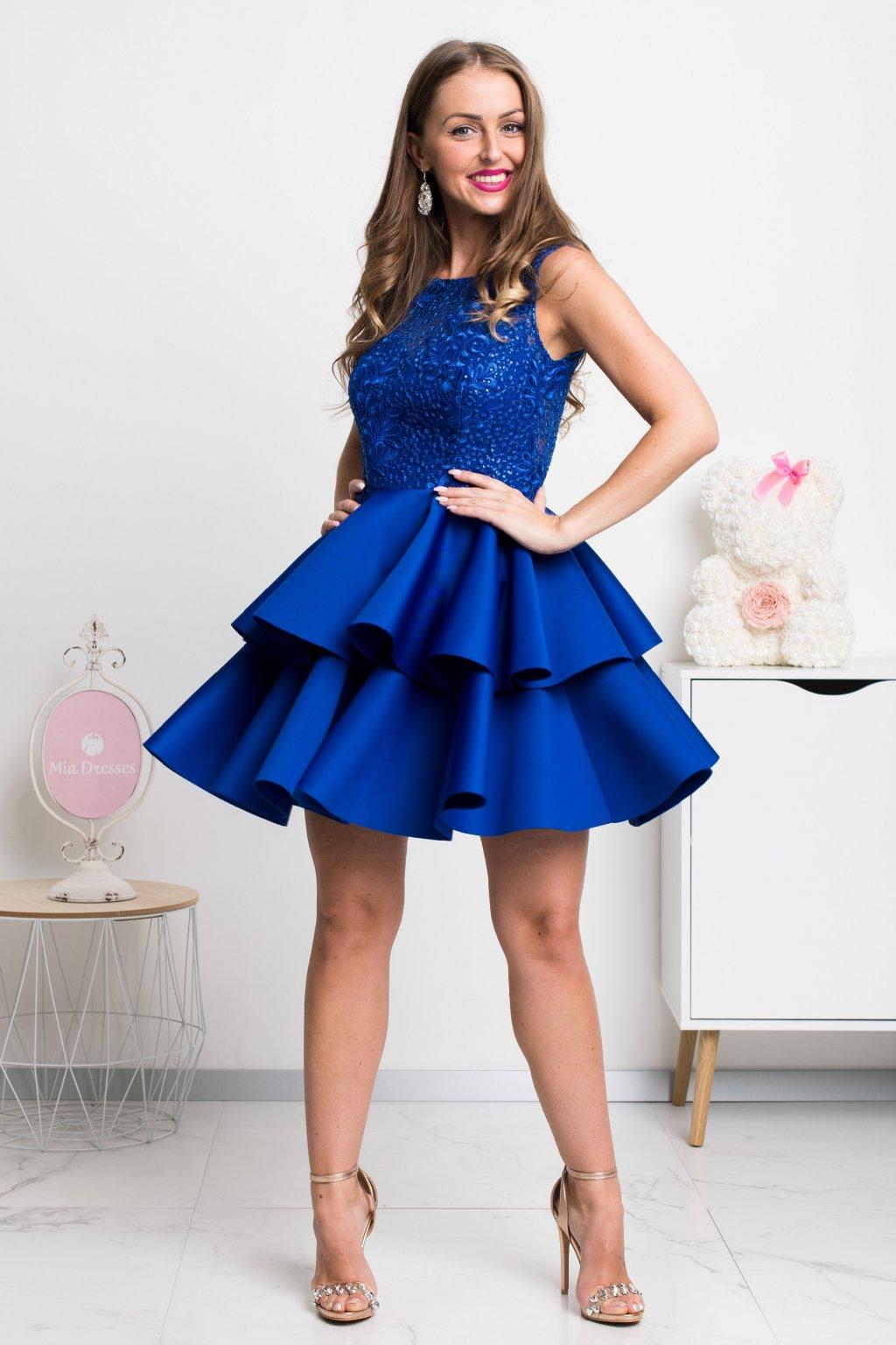 Modré spoločenské mini šaty s krajkou