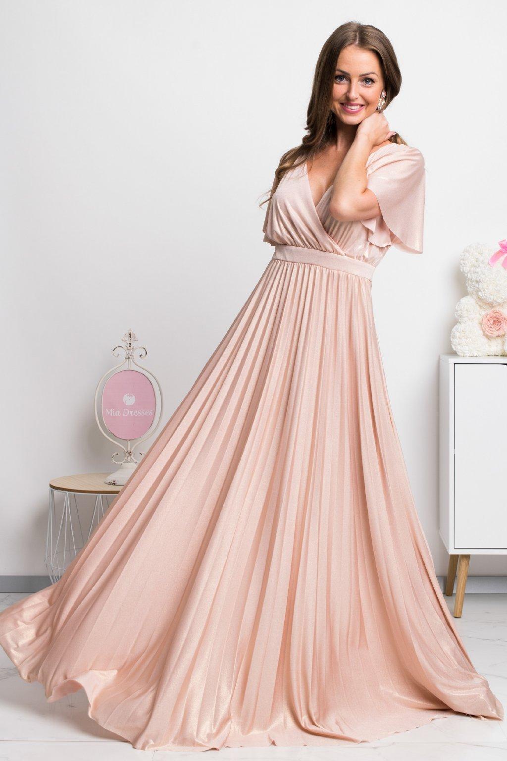 Lesklé šaty s plisovanou sukňou NUDE