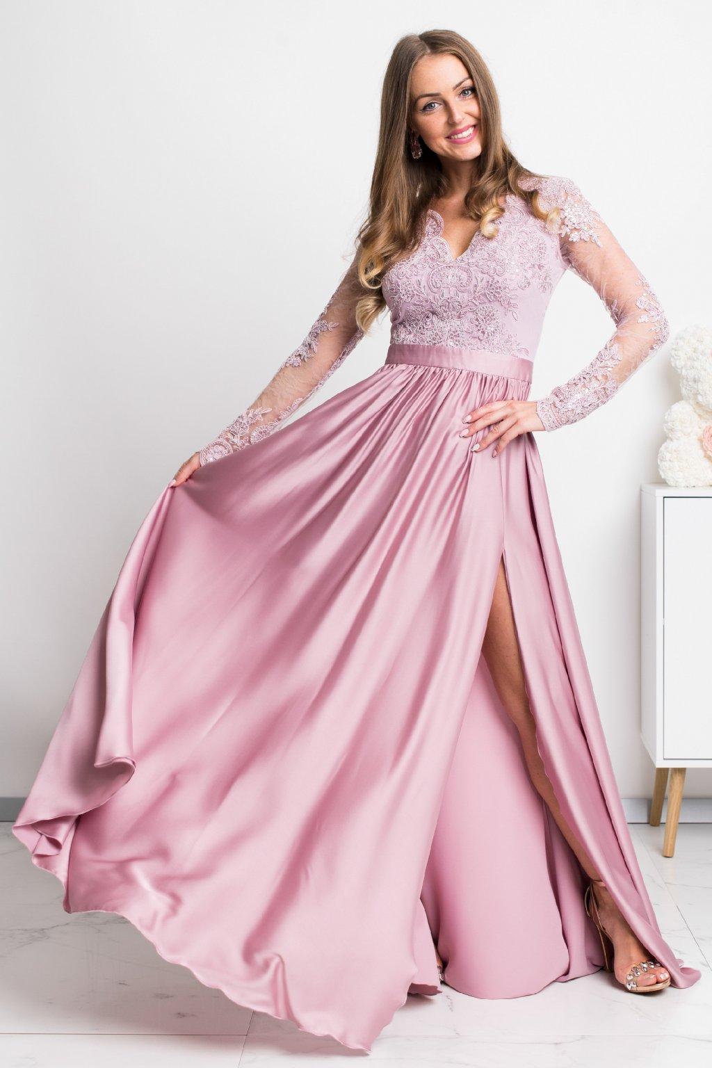 Staroružové spoločenské šaty s krajkou a saténovou sukňou