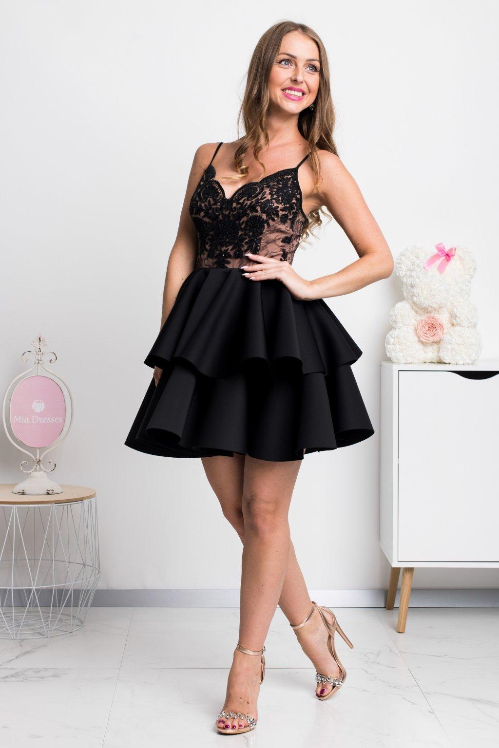 Čierne spoločenské mini šaty na ramienka