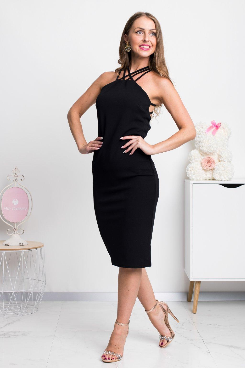 Čierne priliehavé midi šaty s odhaleným chrbtom