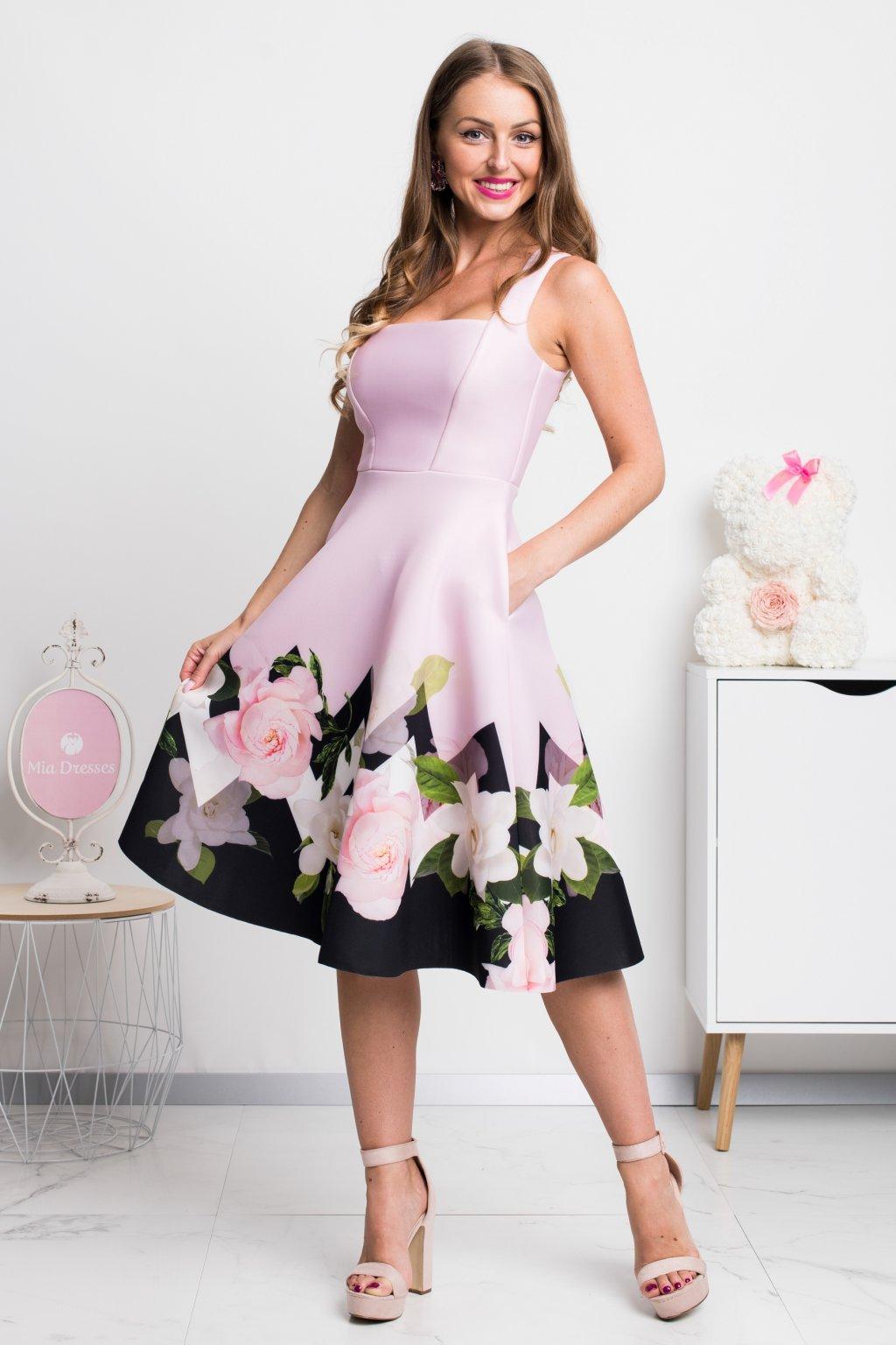 Ružové midi šaty so vzorovanou áčkovou sukňou