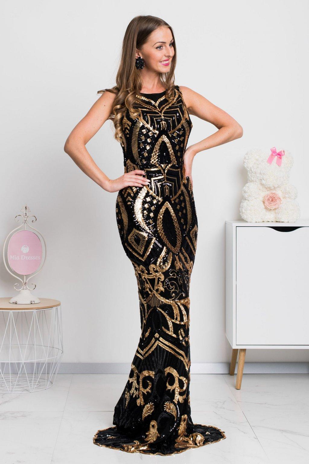 Čierno-zlaté spoločenské flitrované šaty