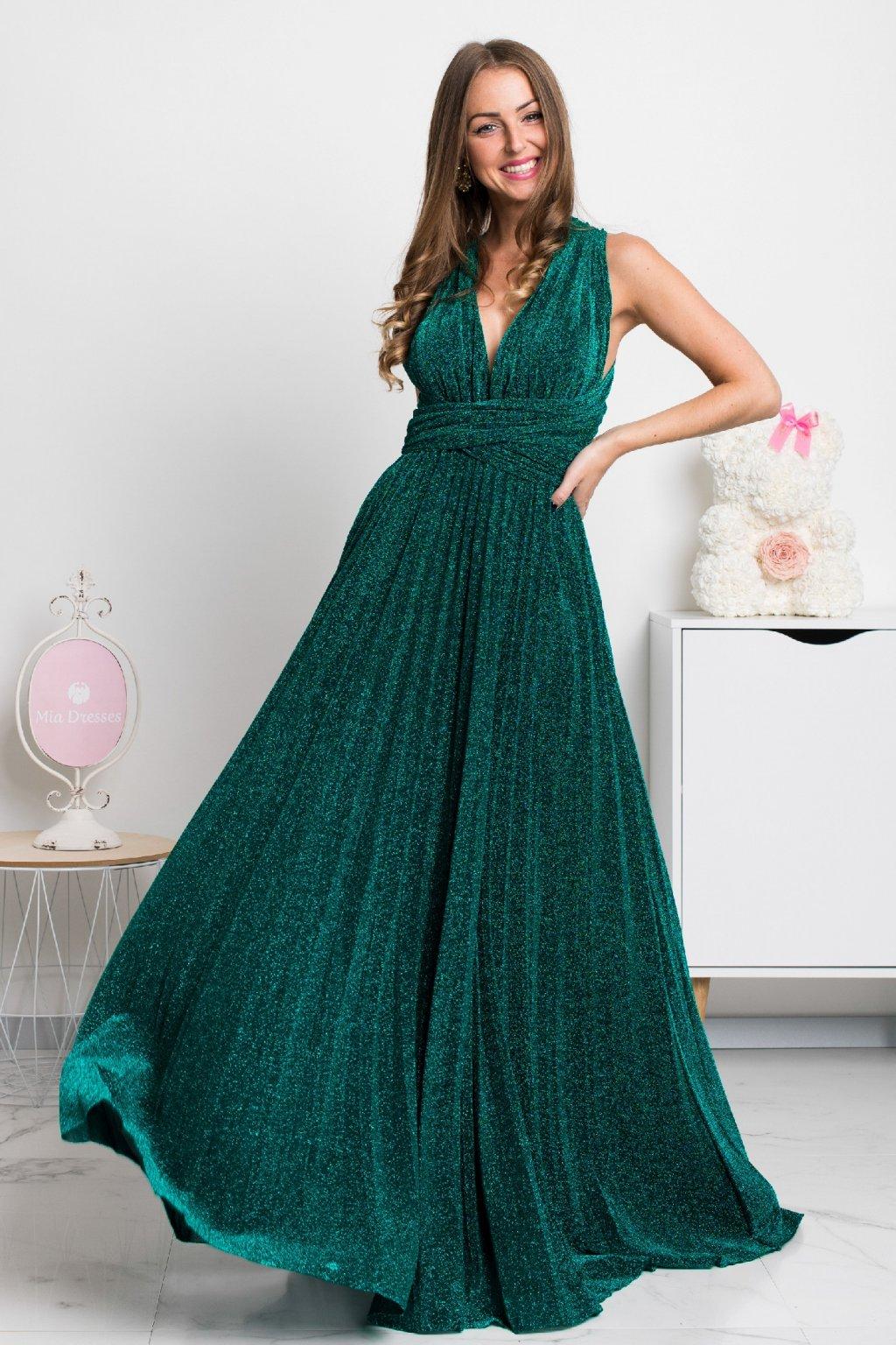 Zelené lesklé spoločenské šaty na viazanie