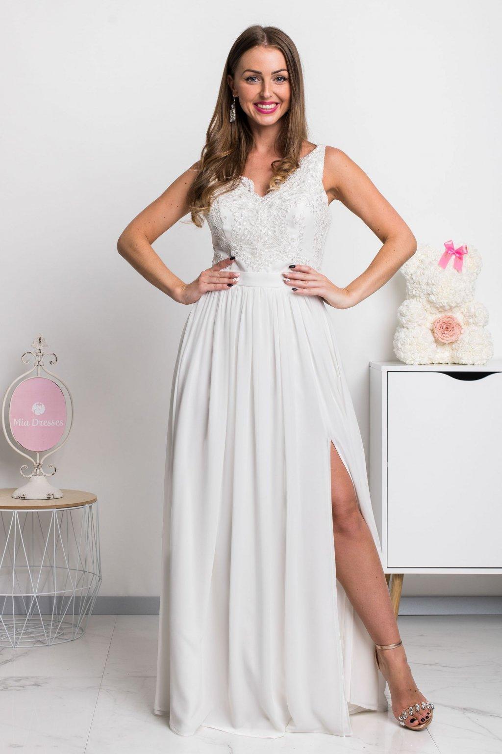 Biele šifónové šaty s krajkou