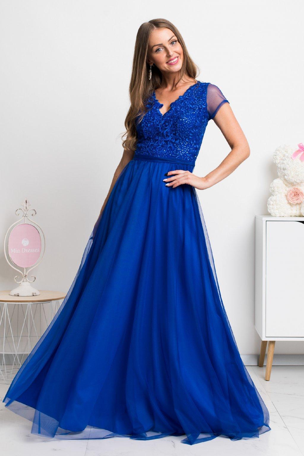 Modré spoločenské šaty s tylovou sukňou a krajkou