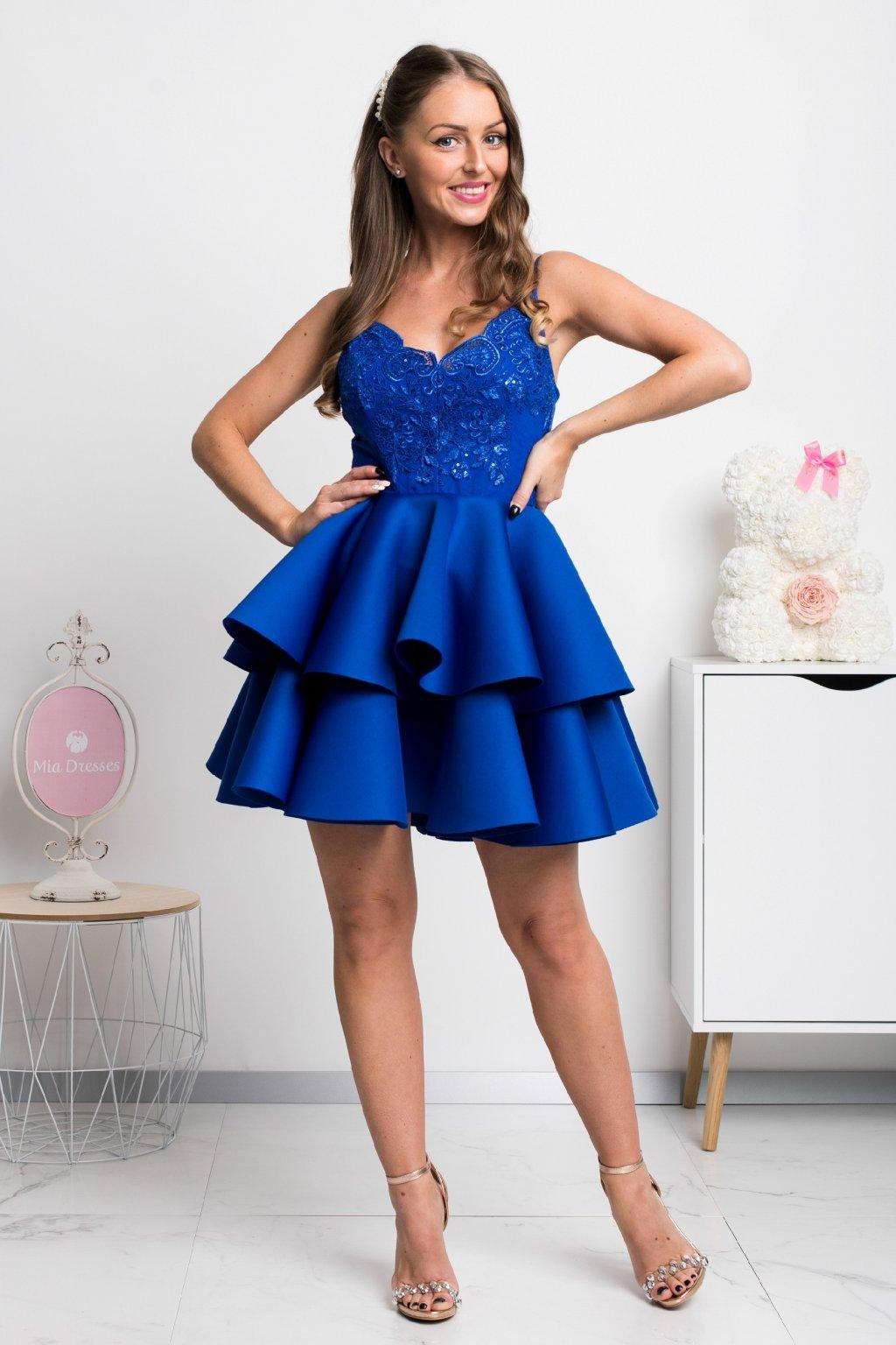 Modré spoločenské mini šaty na ramienka
