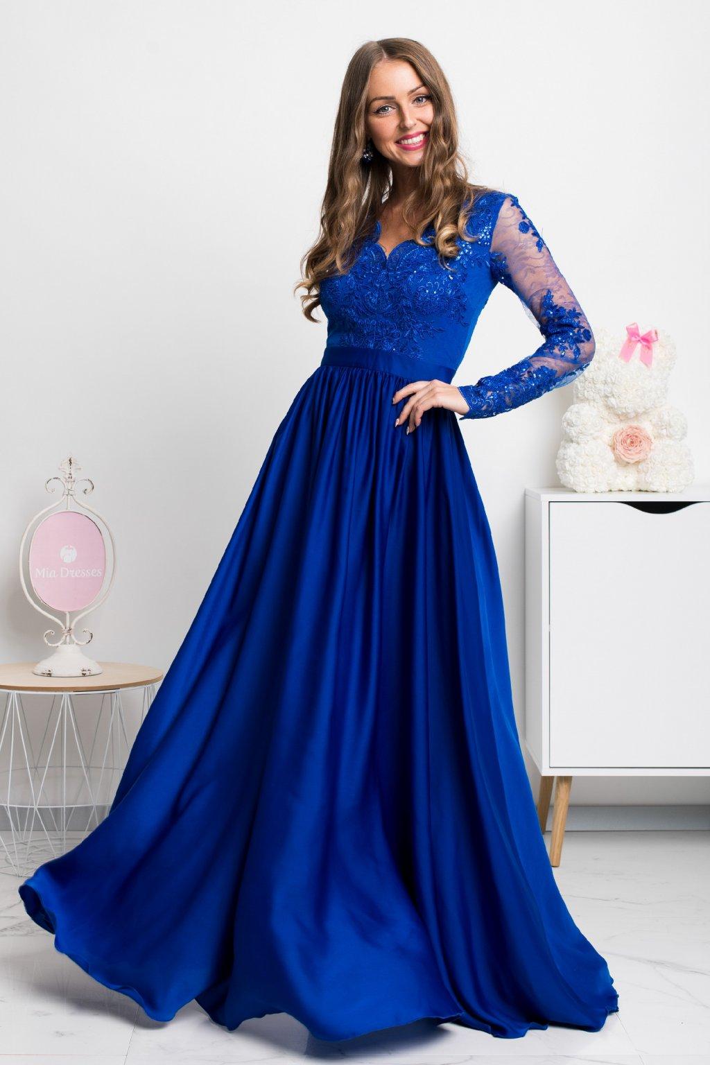 Modré spoločenské šaty s krajkou a saténovou sukňou