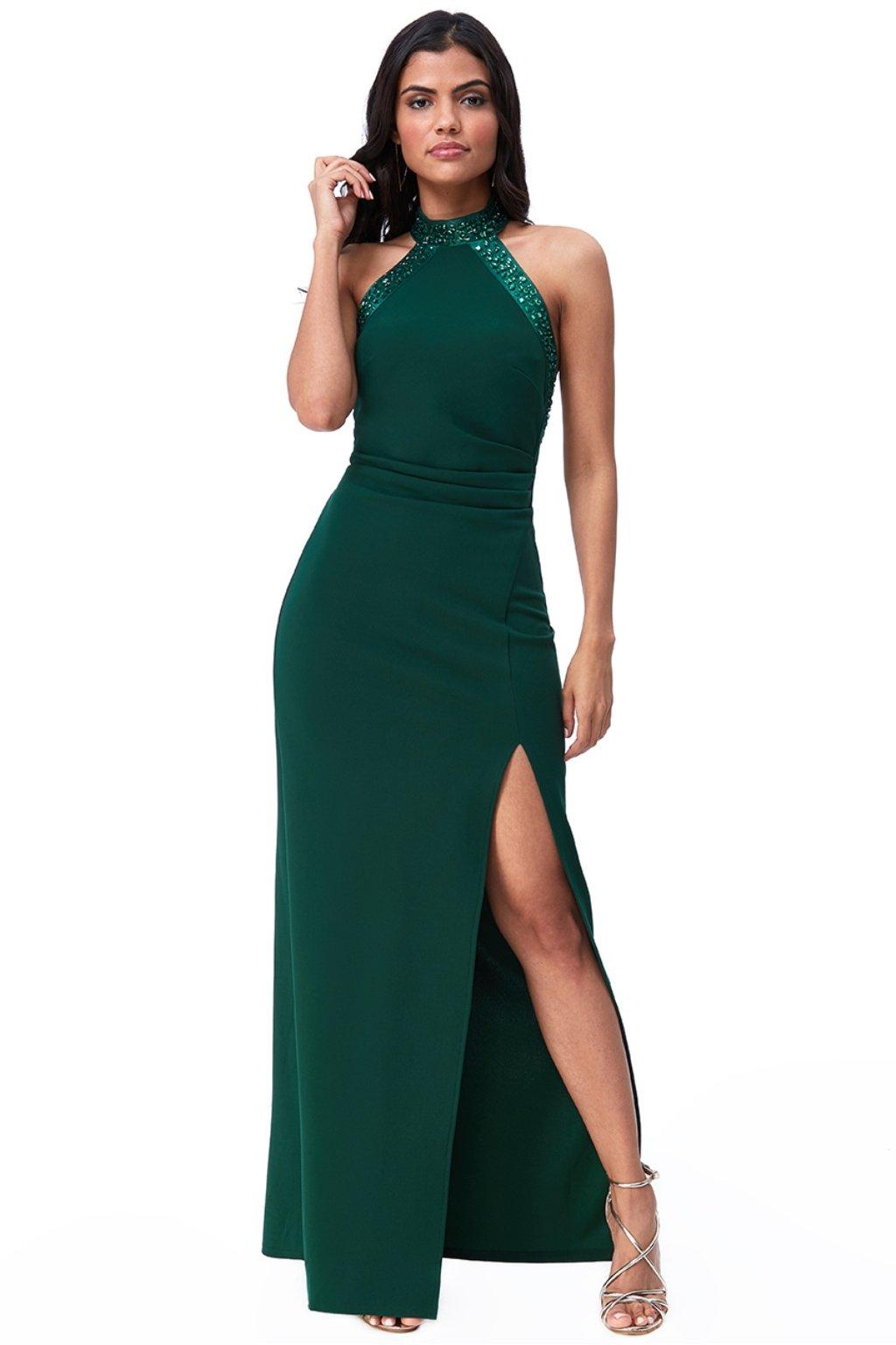 Zelené priliehavé šaty s odhaleným chrbtom a kamienkami