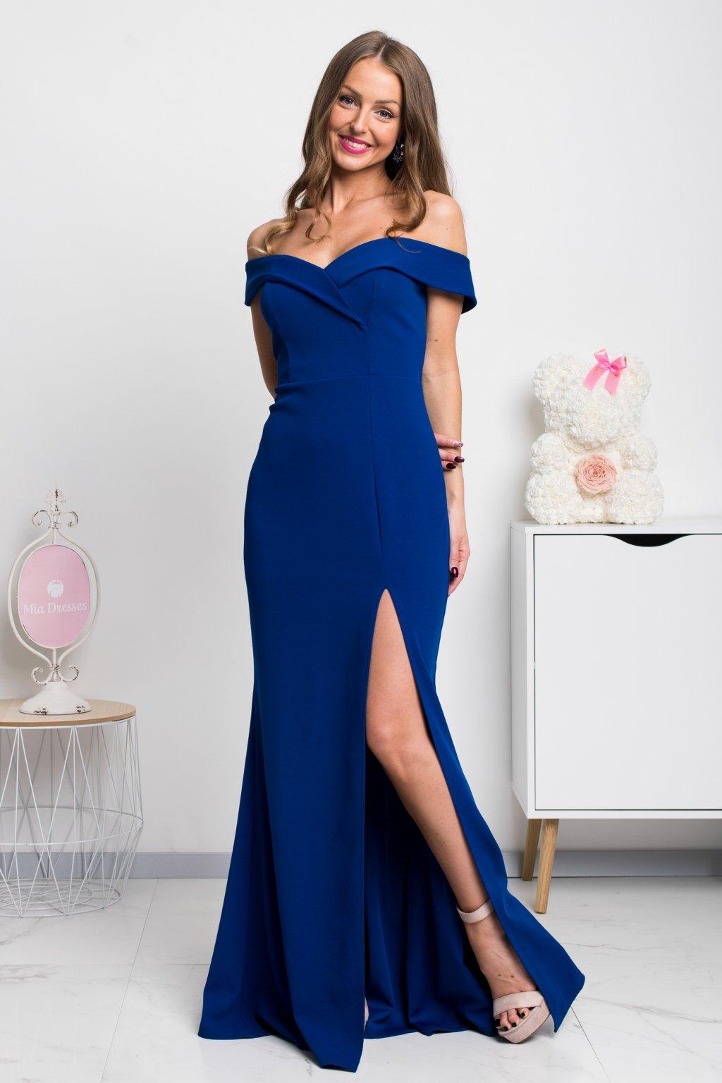 Modré dlhé spoločenské šaty s rozparkom