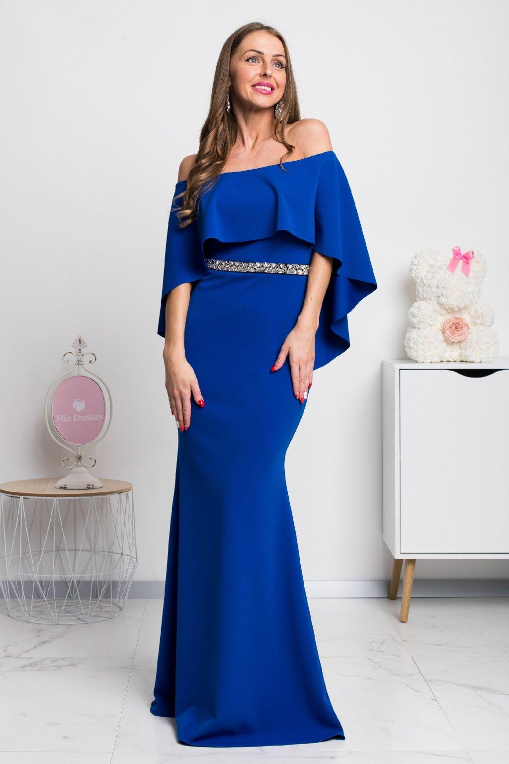 Modré dlhé spoločenské šaty spustené na ramená