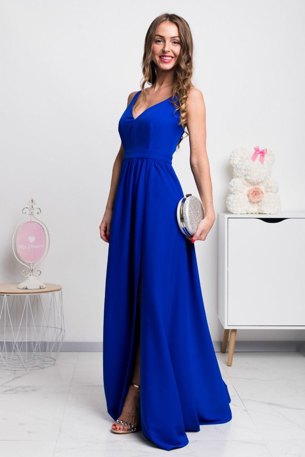 Modré dlhé spoločenské šaty s rozparkami