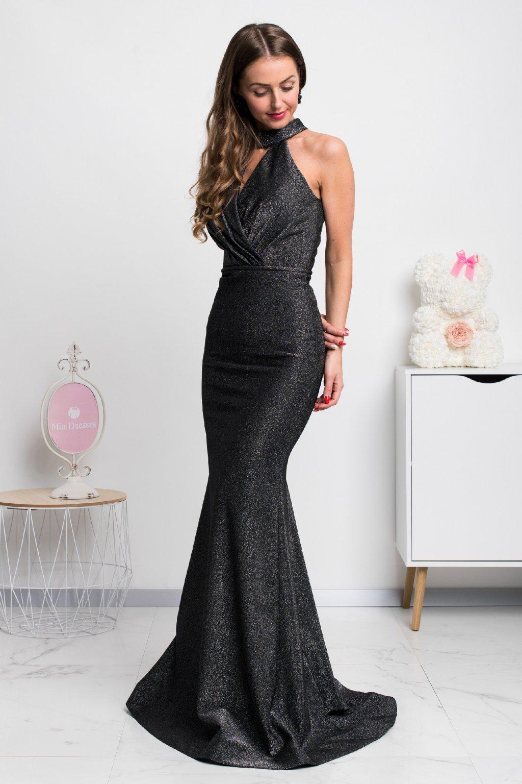 Čierno-strieborné spoločenské šaty