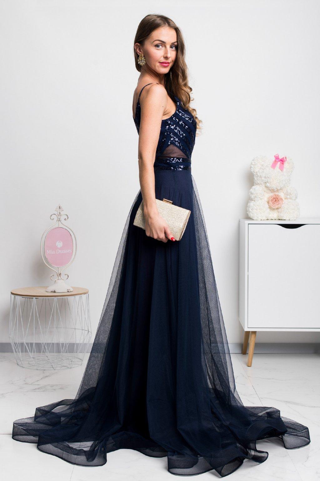 Tmavomodré spoločenské šaty s flitrami a tylovou sukňou