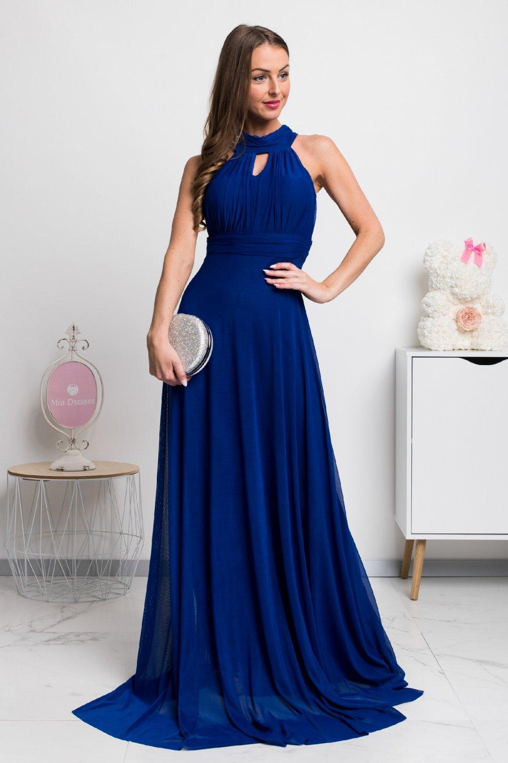Modré spoločenské šaty s viazaním okolo krku