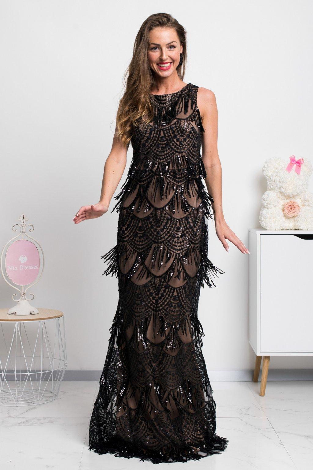Béžovo-čierne spoločenské šaty s flitrami a strapcami