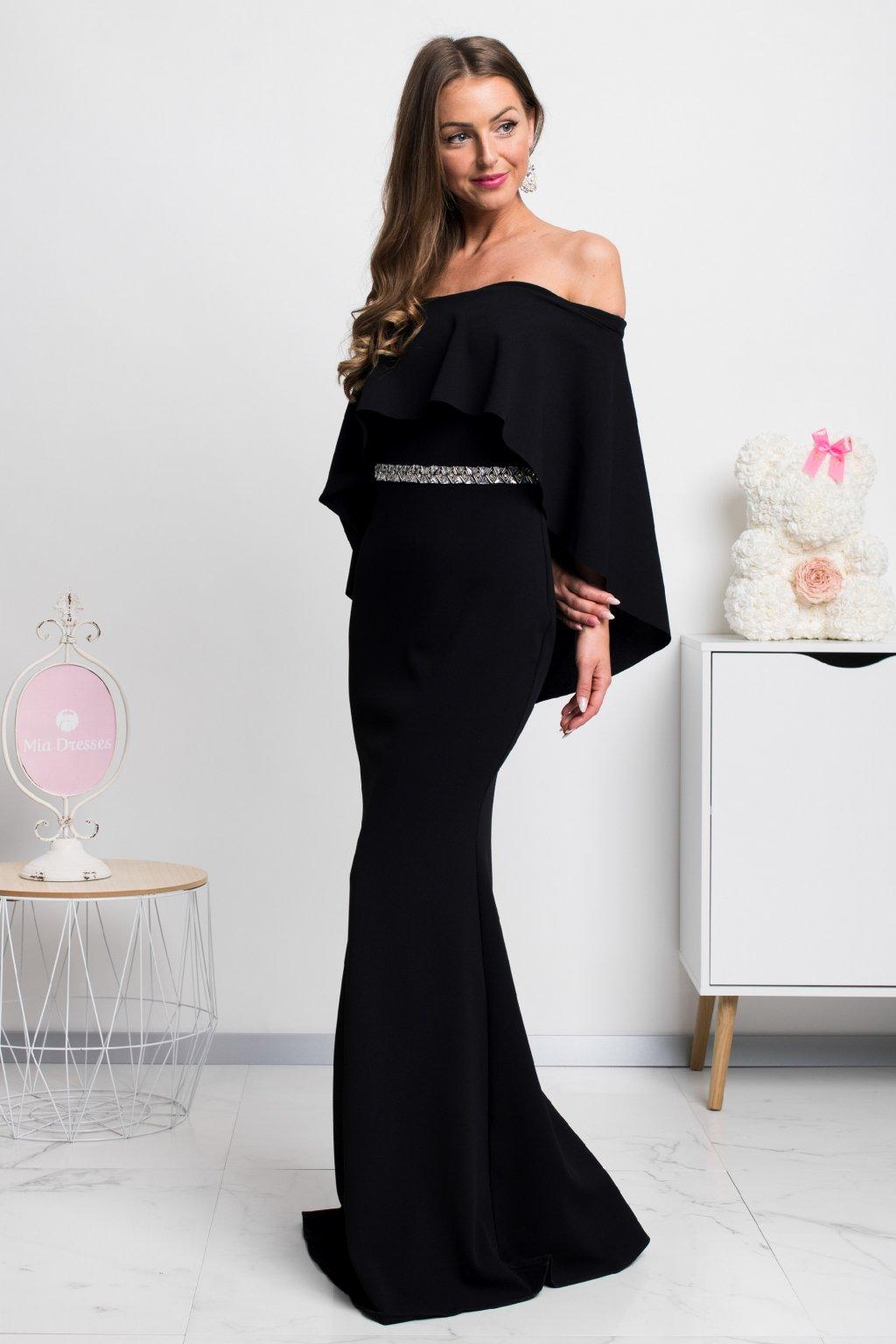 Čierne dlhé spoločenské šaty spustené na ramená