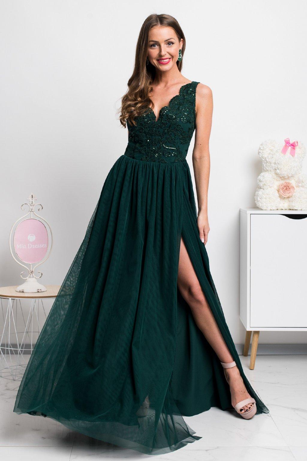 Smaragdové spoločenské šaty s tylovou sukňou a rozparkom