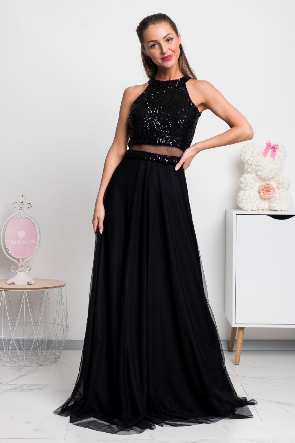 Čierne spoločenské šaty s flitrami a tylovou sukňou