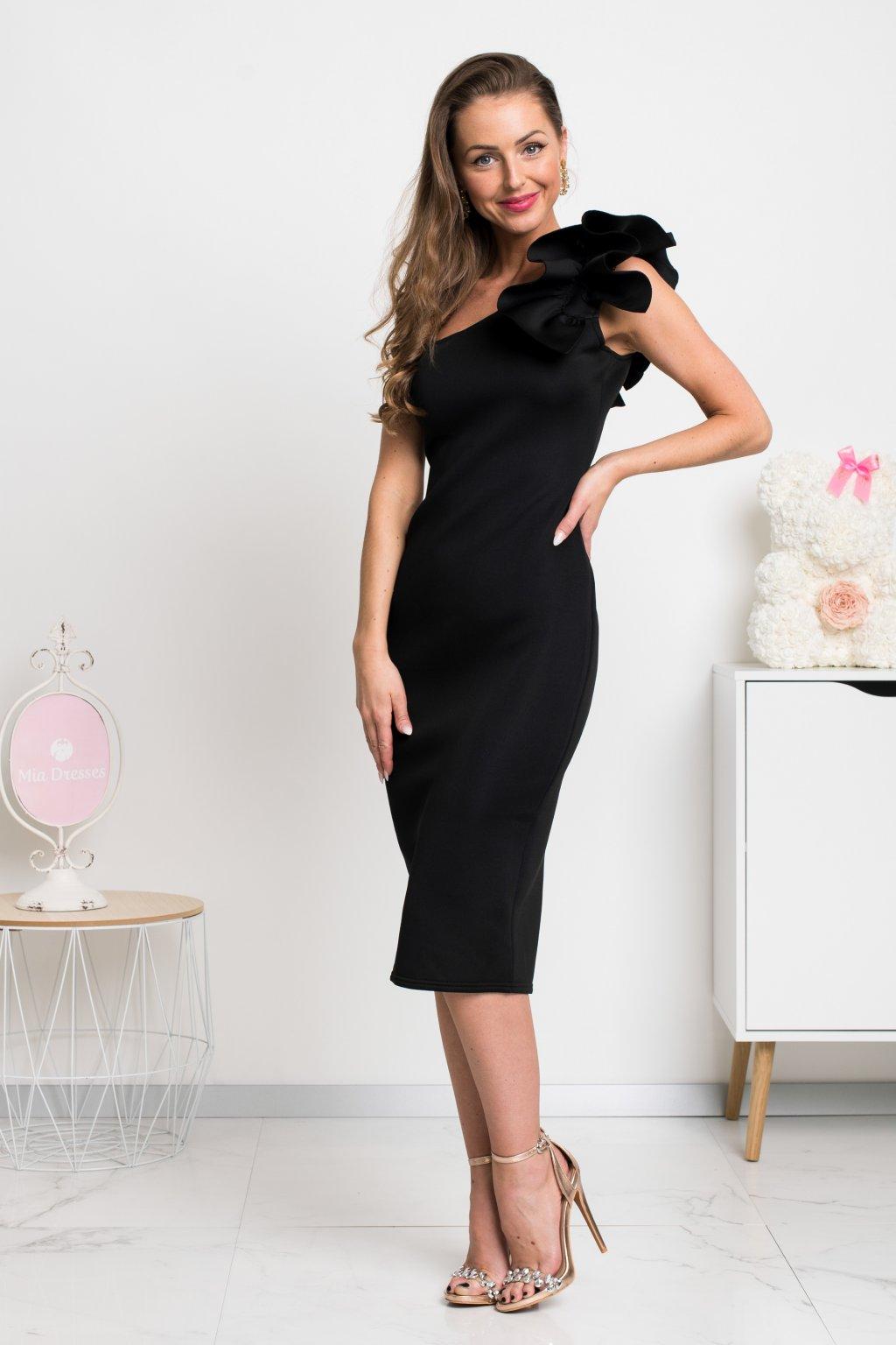 Čierne priliehavé midi šaty s volánikmi