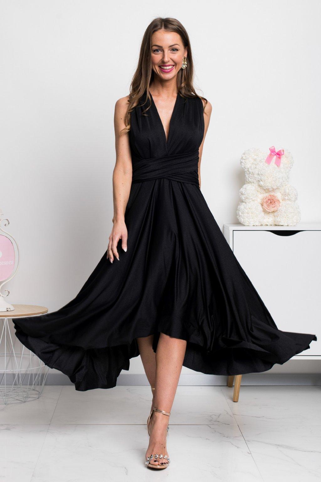 Čierne midi šaty s viazaním
