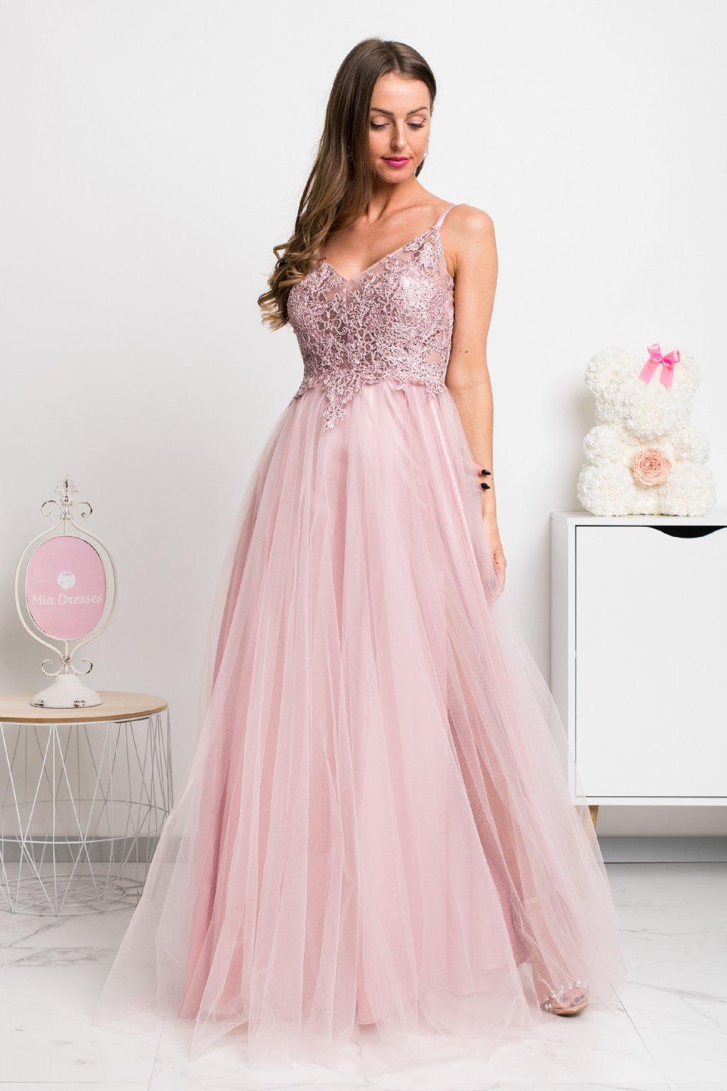 Ružové spoločenské šaty s krajkou a tylovou sukňou