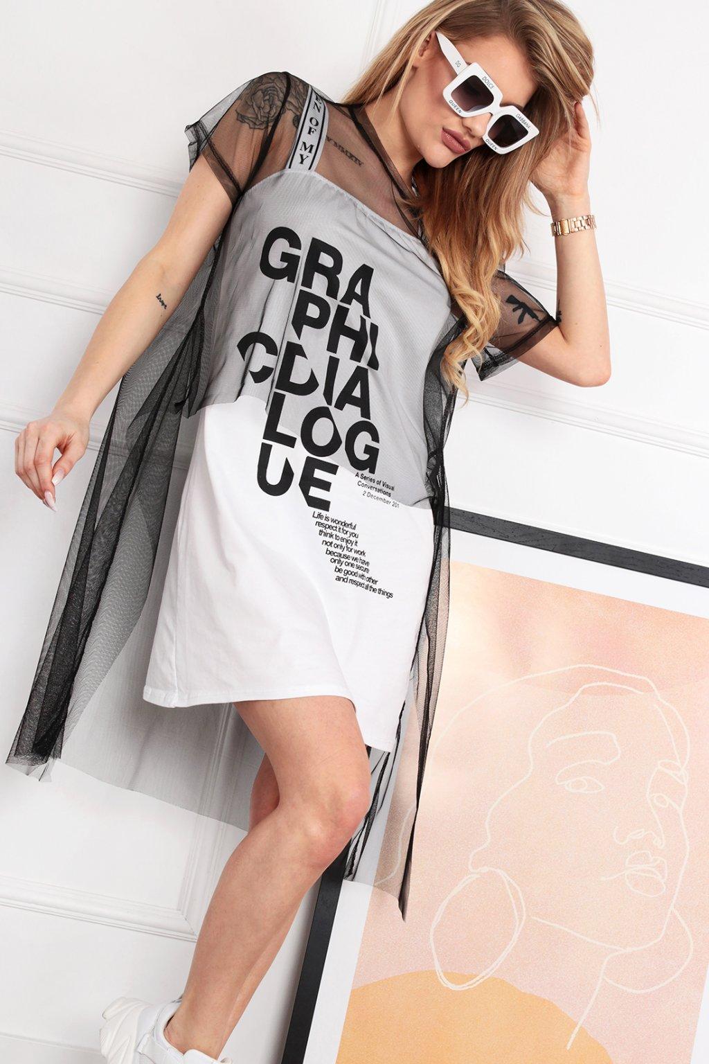 Biele šaty s nápismi a tylom