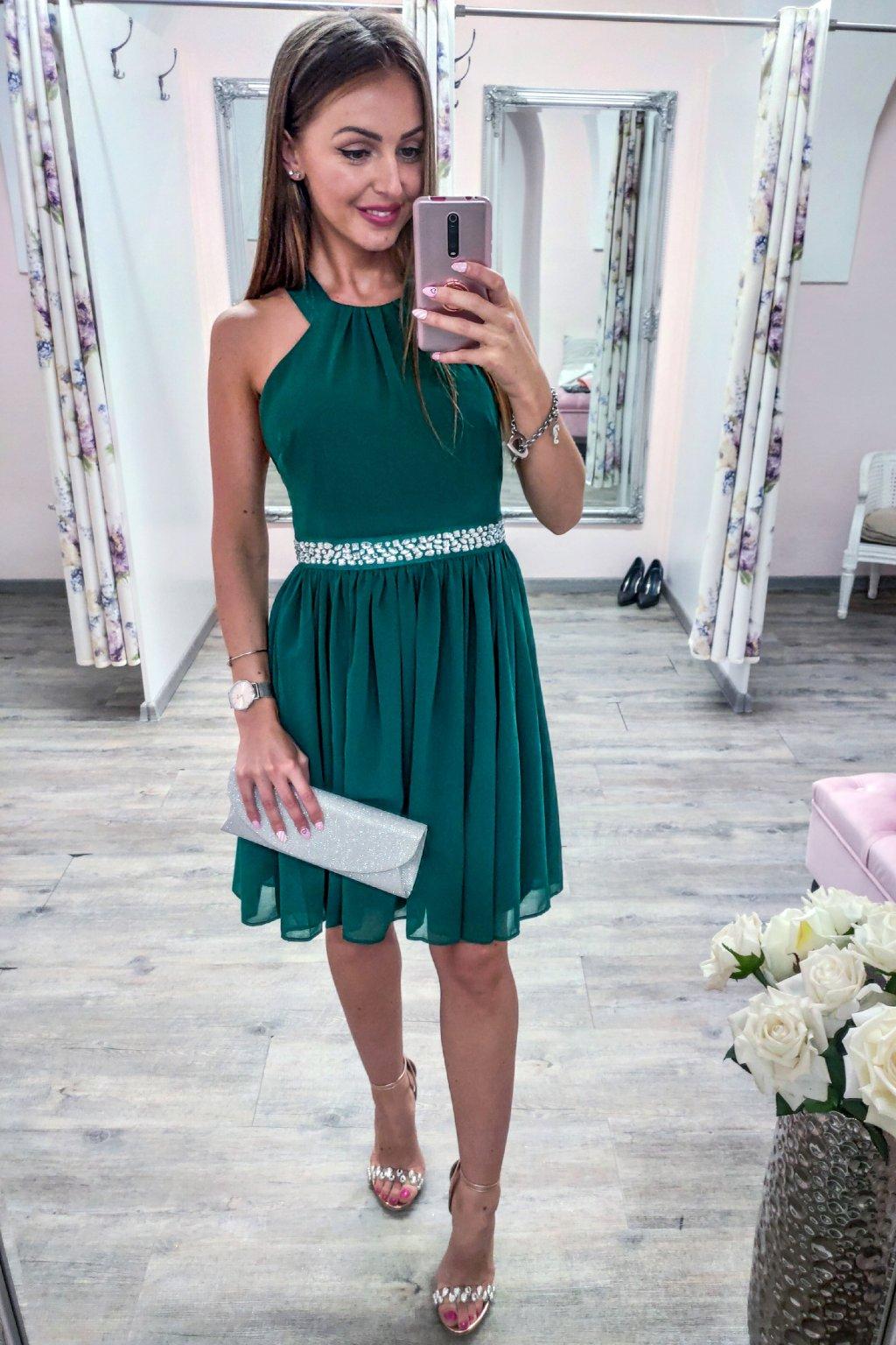Zelené krátke šifónové šaty