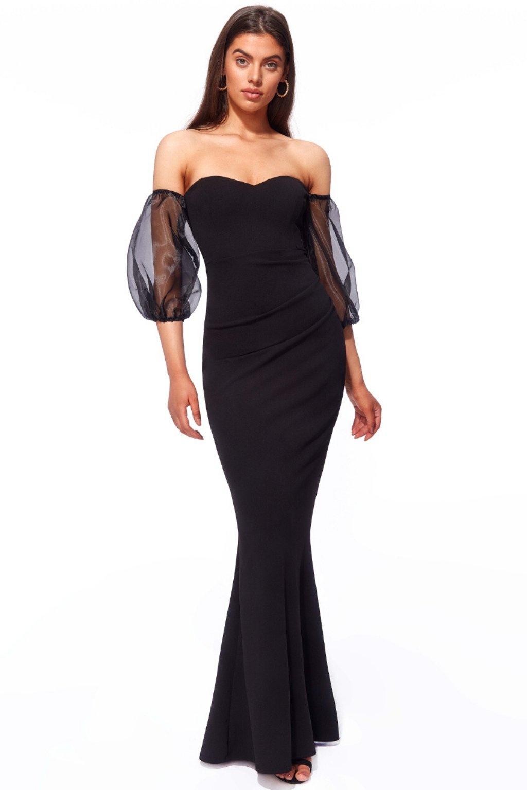 Čierne priliehavé spoločenské šaty s tylovými rukávmi