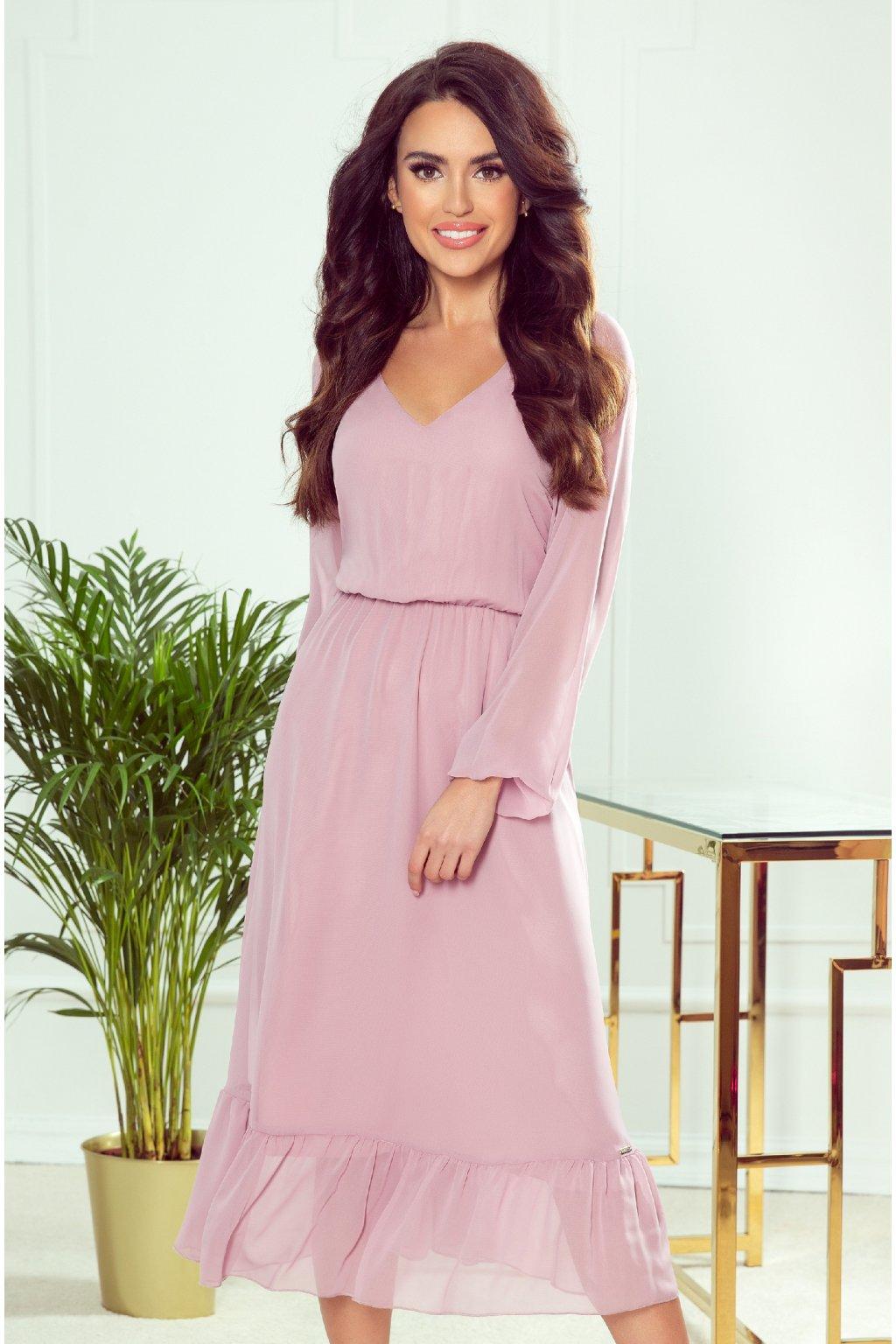 Ružové šifónové midi šaty