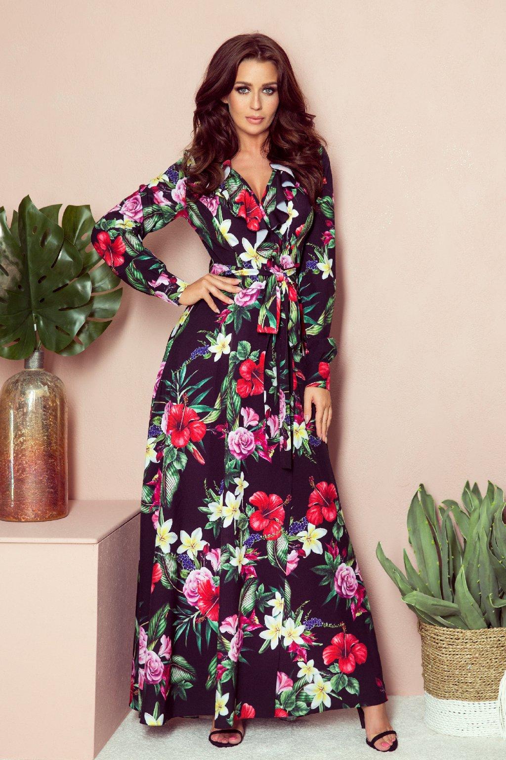Čierne kvetinové šaty s rukávmi