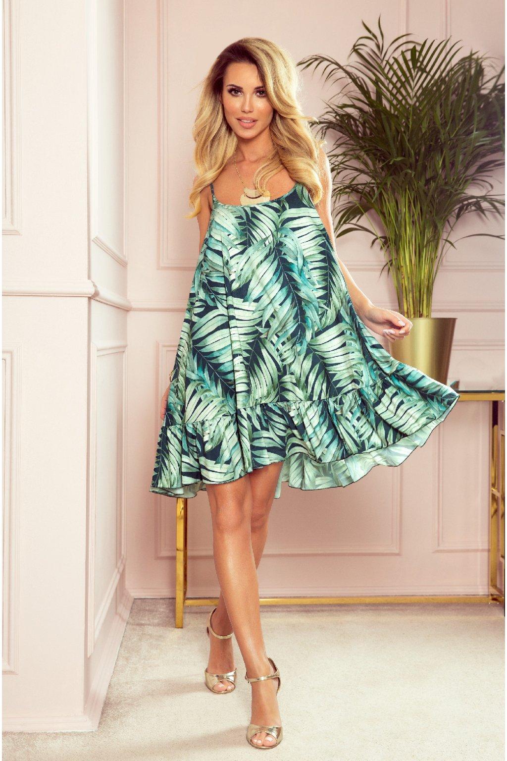 Zelené krátke šaty s volánikom