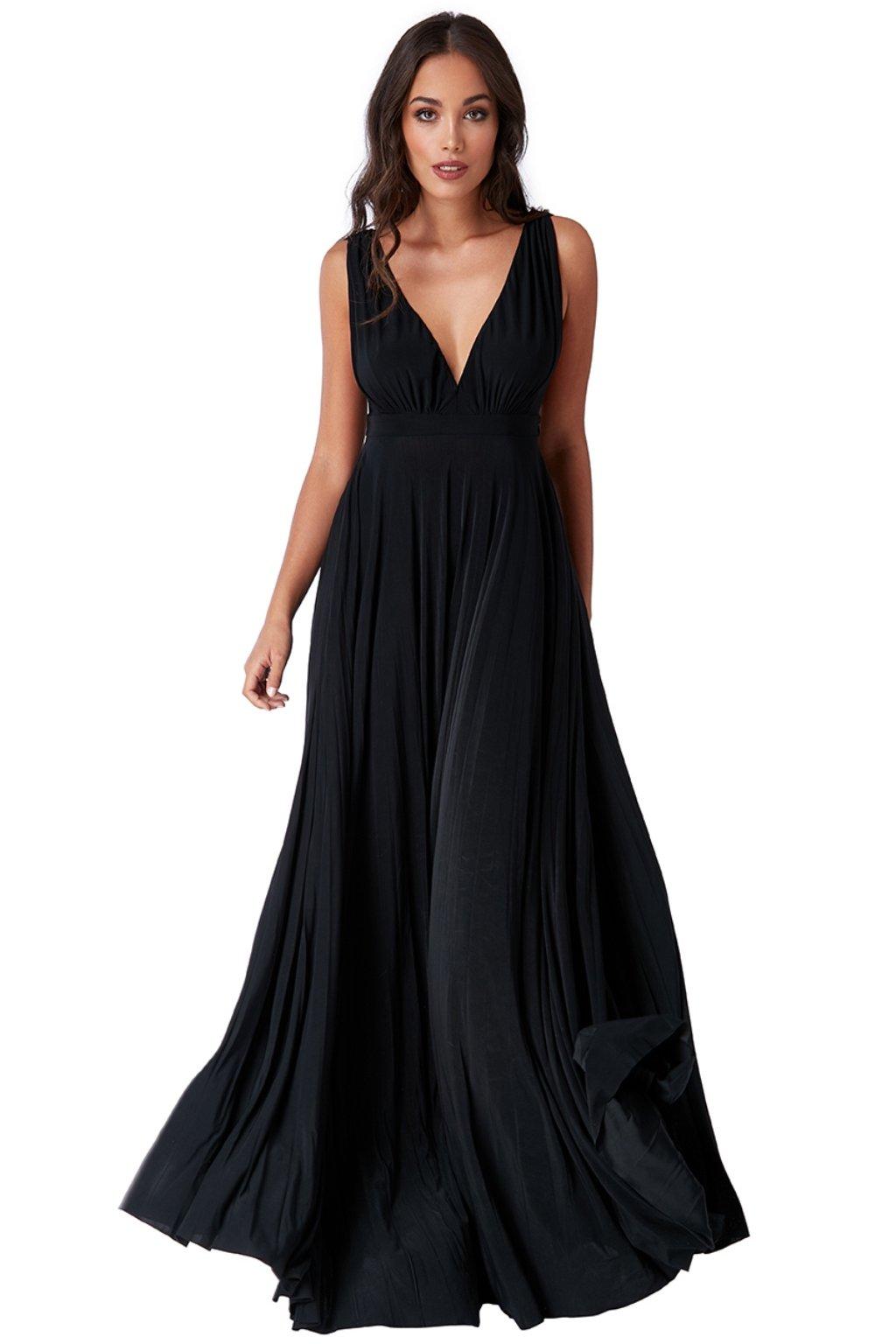 Čierne spoločenské šaty s plisovanou sukňou