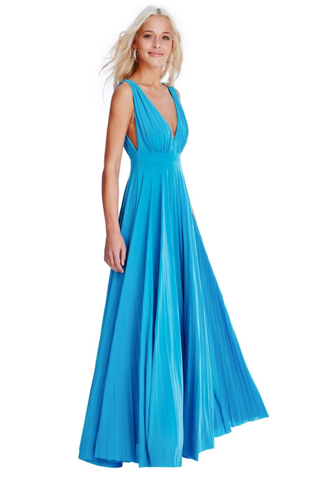 Tyrkysové spoločenské šaty s plisovanou sukňou