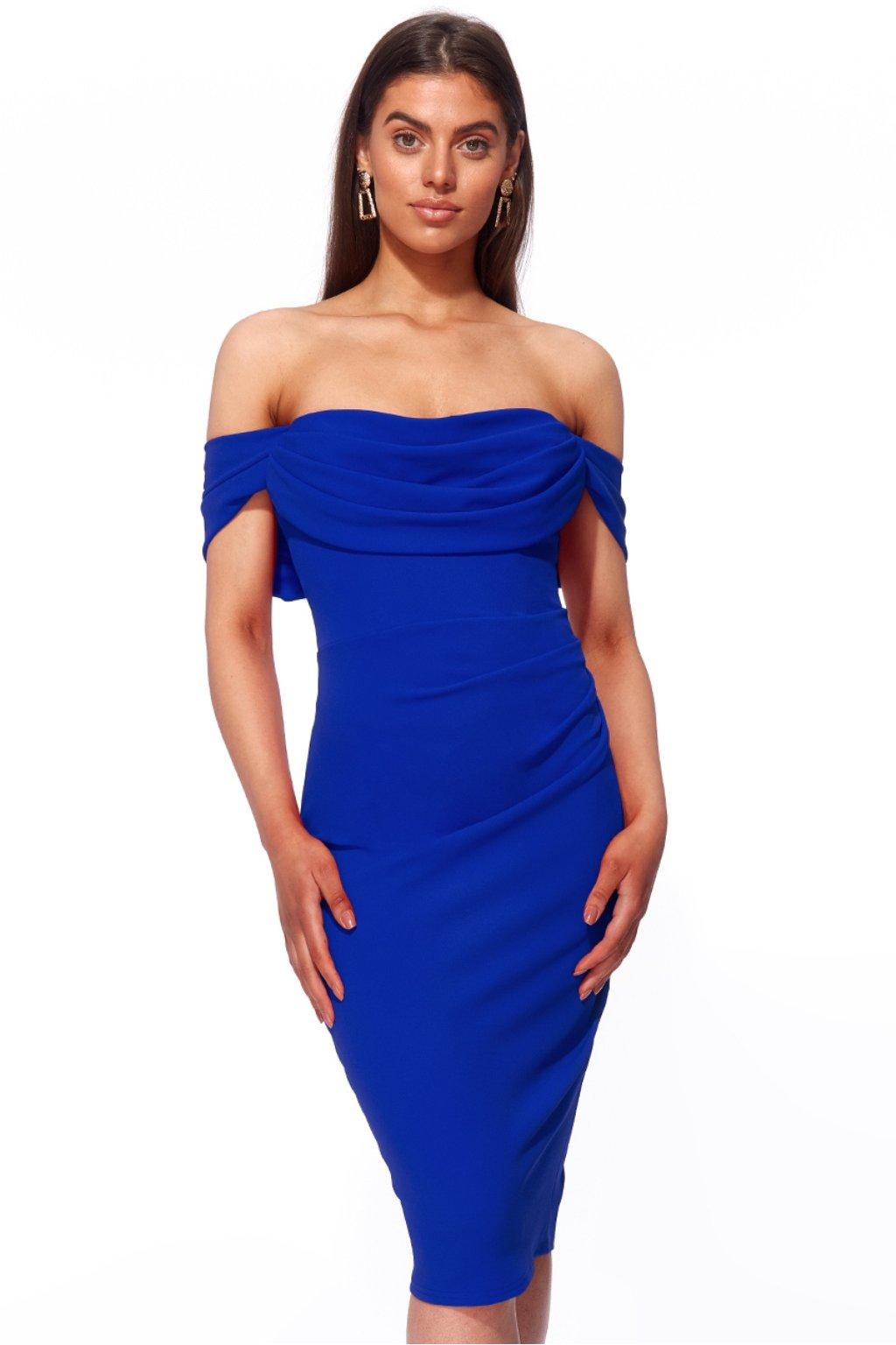 Modré krátke priliehavé šaty spustené na ramená