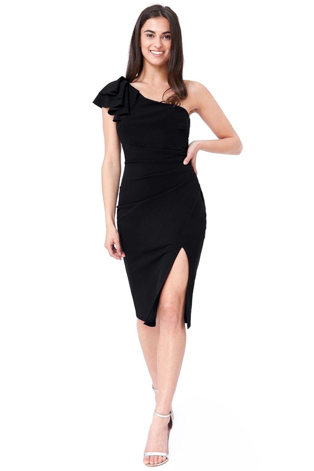 Čierne midi šaty s volánikmi