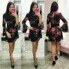 Čierne kvetinové šaty s rozšírenými rukávmi