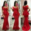 Červené spoločenské peplum šaty