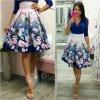 Fialovo-modrá kvetinová krátka sukňa