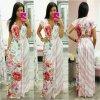 Ružovo-biele dlhé šaty s kvetinami