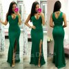 Zelené dlhé šaty s chokerom