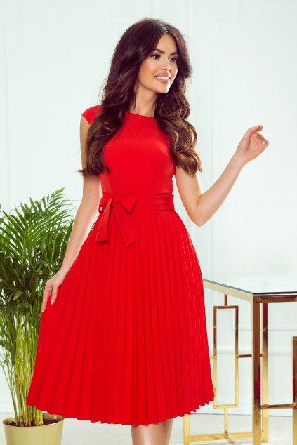 Červené midi šaty so skladanou sukňou