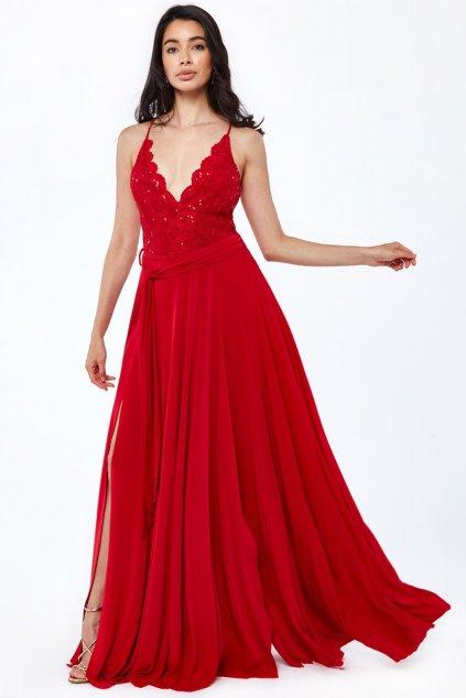 Červené spoločenské šaty s krajkou a flitrami