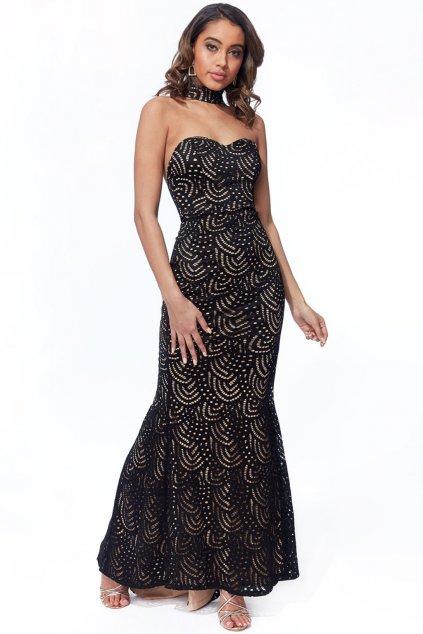 Čierne priliehavé spoločenské šaty s odhaleným chrbtom