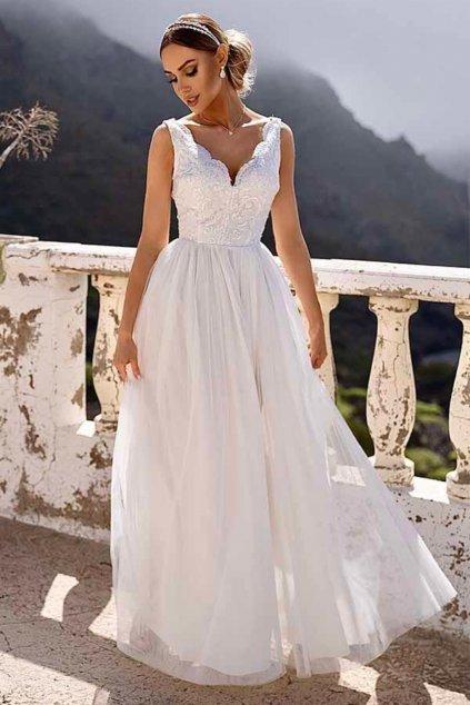 Biele spoločenské šaty s tylovou sukňou a rozparkom