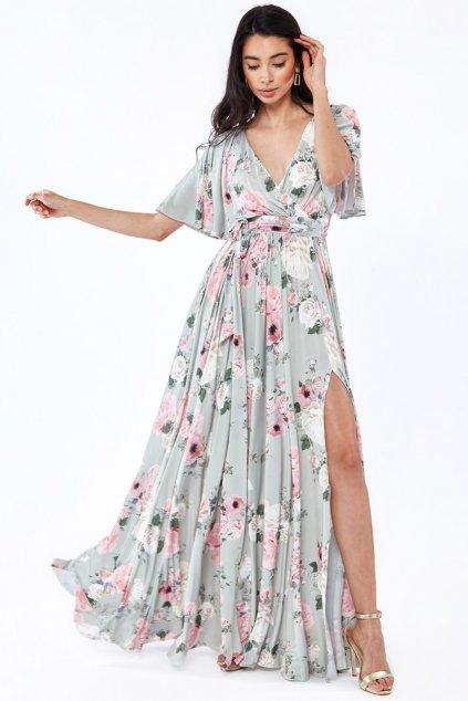 Zelené kvetinové šaty s voľnými rukávmi