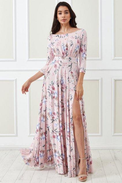 Svetloružové kvetinové šaty s rukávmi
