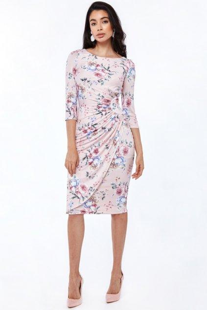 Svetloružové kvetinové midi šaty s rukávmi